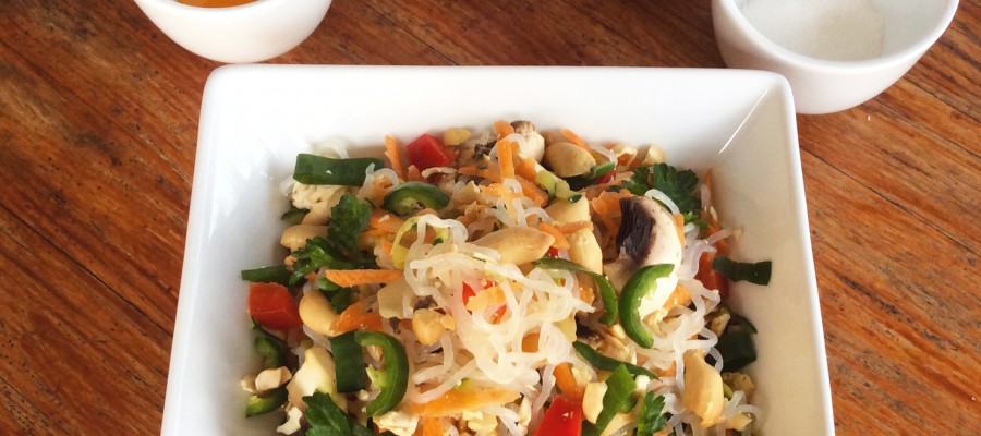 Thai Style Noodle Salad with Smoked Tofu or Chicken