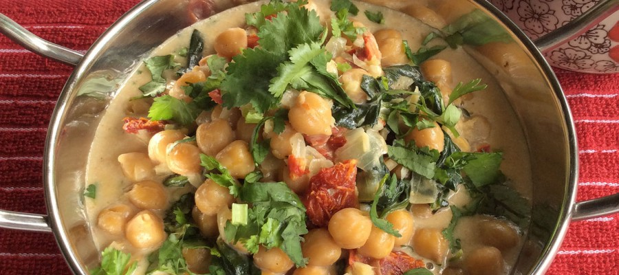 Coconut Braised Chickpeas w/ Spinach & Sun-Dried Tomatoes