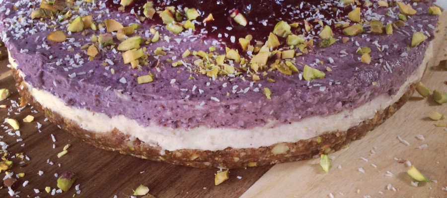 Vegan Blueberry, Coconut & Pistachio Cheesecake