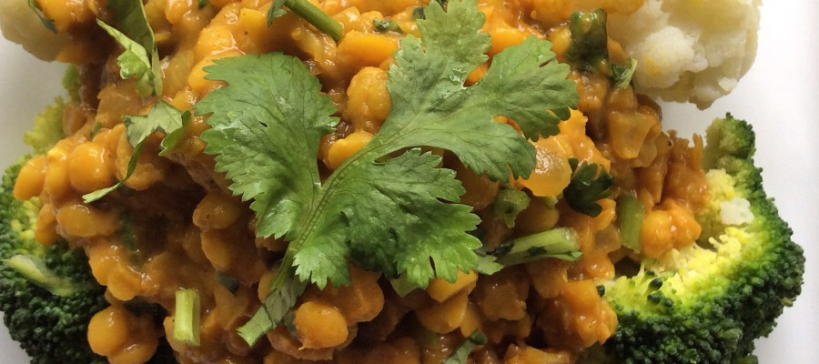Spicy Red Lentil & Yellow Split Pea Stew with Eggplant