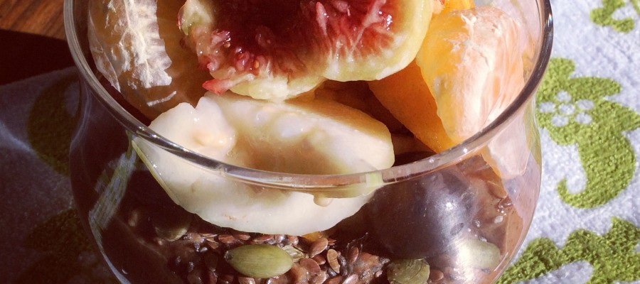 Pear & Date Chocolate Smoothie Bowl with Fruit Salad