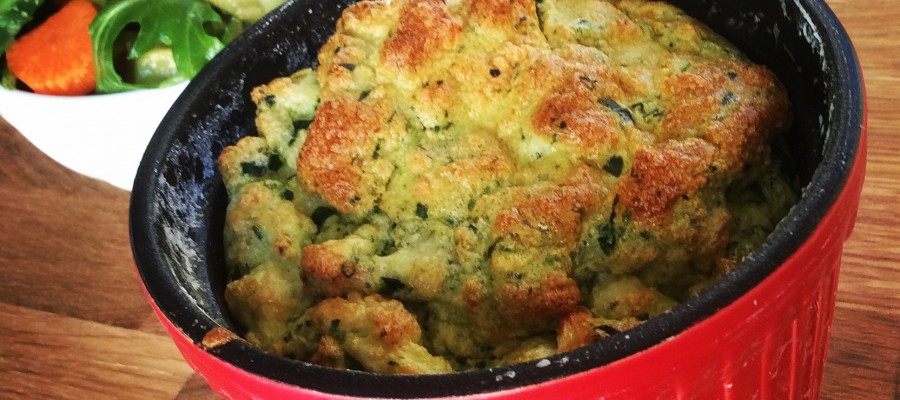 Spinach & Feta Soufflé with Pesto